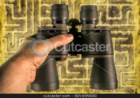 Looking for opportunity stock photo, Binoculars helping to see opportunities on the maze of things by Dariusz Miszkiel