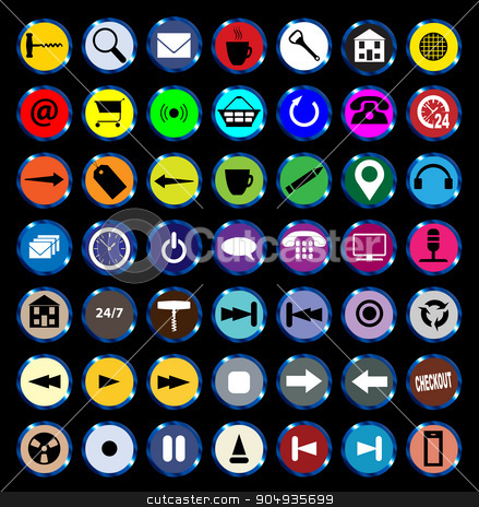 Web Icon Buttons stock vector clipart, A collection of varied round icon buttons by Kotto