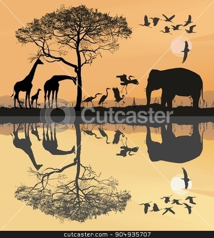 Savana with giraffes, herons and elephant stock vector clipart, illustration savana with giraffes, herons and elephant by Čerešňák