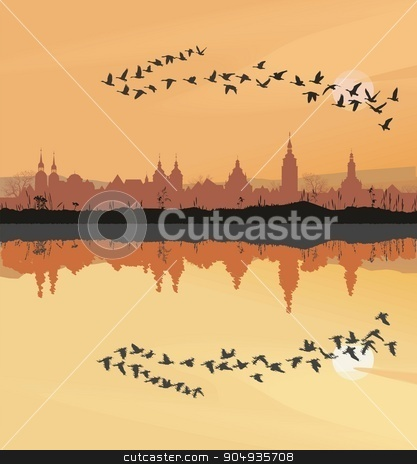 Historic towns and migrating geese stock vector clipart, Landscape with the silhouette of the historic town and migrating geese by Čerešňák
