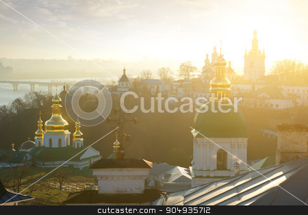 Churches in Lavra stock photo, Churches in Kyev-Pechersk Lavra in winter morning by Givaga