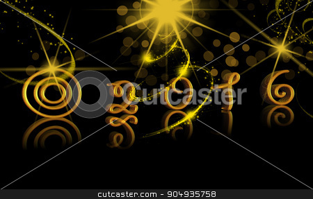 Happy New Year 2016 gold text stock photo, Happy New Year 2016 illustration with gold text by ANTONIOS KARVELAS