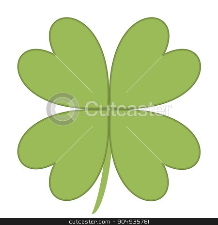 Four leaves clover stock photo, Four leaves clover in green color background by Elenarts