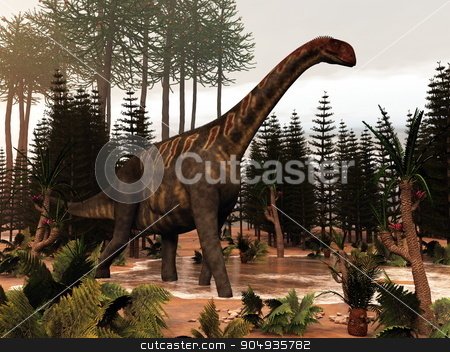 Jobaria dinosaur - 3D render stock photo, Jobaria dinosaur walking to a little pond and among wollemia, calamite and cycas plants - 3D render by Elenarts