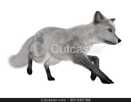 White fox running - 3D render stock photo, White fox running isolated in white background - 3D render by Elenarts
