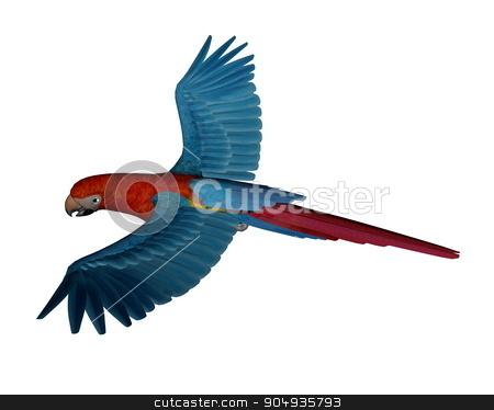 Scarlet macaw, parrot, flying - 3D render stock photo, Scarlet macaw, parrot, flying isolated in white background - 3D render by Elenarts