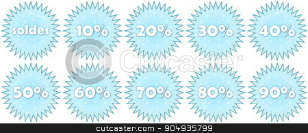 Set of french winter sale icons stock photo, Set of french winter sale and percentage discounts icons in white background by Elenarts