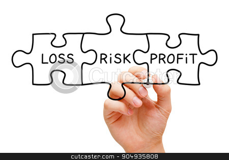 Risk Loss Profit Puzzle Concept stock photo, Hand drawing Risk Loss Profit puzzle concept with black marker on transparent wipe board isolated on white.  by Ivelin Radkov