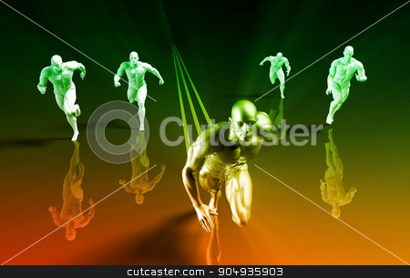 Business Competition stock photo, Business Competition with a Winning Leader Skill by Kheng Ho Toh