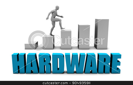 Hardware stock photo, Hardware 3D Concept  in Blue with Bar Chart Graph by Kheng Ho Toh