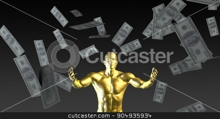 Happy Businessman stock photo, Happy Businessman Under a Rain of Cash and Money by Kheng Ho Toh