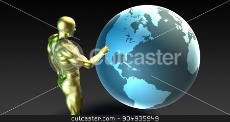Businessman Pointing at North America  stock photo, Businessman Pointing at North America Business Investment by Kheng Ho Toh
