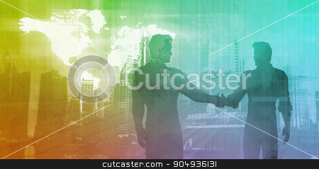 Banking and Finance stock photo, Banking and Finance Sector with Men Shaking Hands by Kheng Ho Toh