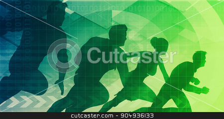 Market Leader stock photo, Market Leader with Company Team Leading to Success by Kheng Ho Toh