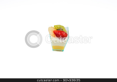 Cupcake with fruits and custard stock photo, In the picture a cupcake with fruit,cream and custard in a plastic cup,isolated on white background. by Robertobinetti70