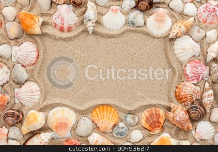 Frame of seashells  stock photo, Frame of seashells on the sand  by alekleks