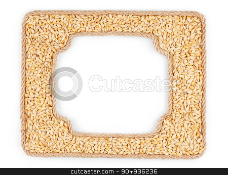 Two frames of the rope with barley grain on a white background stock photo, Two frames of the rope with barley grain on a white background, with place for your text by alekleks