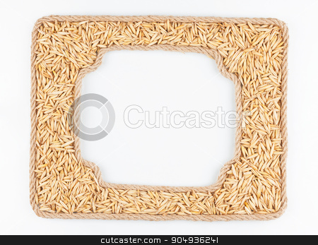 Two frames of the rope with oats  grain on a white background stock photo, Two frames of the rope with oats  grain on a white background, with place for your text by alekleks