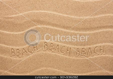 Beach inscription on the wavy sand stock photo, Beach inscription on the wavy sand, as background by alekleks