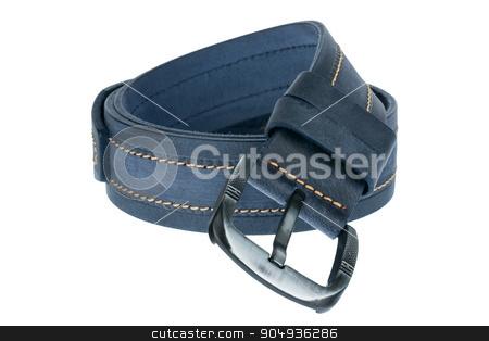 Blue men belt stock photo, Blue men belt, isolated on white background by alekleks