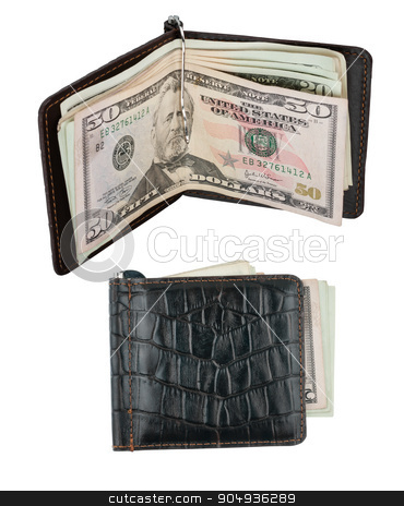 Wallet with moneyclip stock photo, Wallet with moneyclip, isolated on white background by alekleks