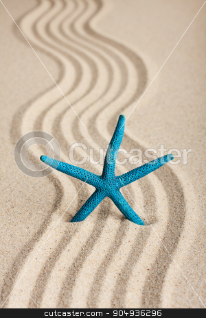 Star sticking out in the sand stock photo, Star sticking out in the sand, can be used as background  by alekleks