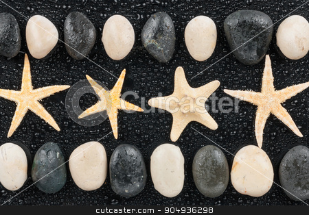 zen stones and starfish with water drops stock photo, zen stones and starfish with water drops,with space for text by alekleks