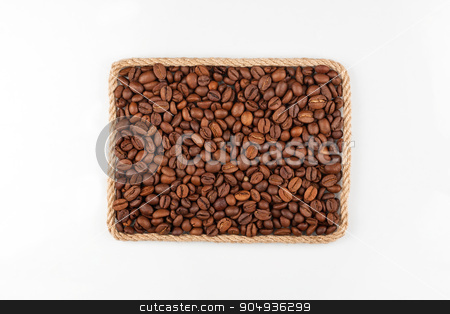 Frame made of the rope with coffee beans on a white background stock photo, Frame made of the rope with coffee beans on a white background, with place for your text by alekleks