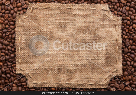 Figured frame with burlap and stitches with  place for your text stock photo, Figured frame with burlap and stitches with  place for your text lying on coffee beans as a background by alekleks