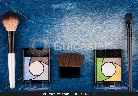 Beautiful picture of cosmetic  on  blue  jeans stock photo, Beautiful picture of cosmetic  on  blue  jeans, with space for your text by alekleks