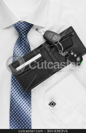 wallet, keys  lying on the shirt  and tie stock photo, wallet, keys  lying on the shirt  and tie, can be used as background by alekleks
