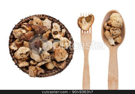 Dried mushroom in a plate, fork and spoon stock photo, Dried mushroom in a plate, fork and spoon, isolated on white background by alekleks