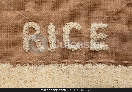 word rice written on burlap  stock photo, word rice written on burlap , background  by alekleks