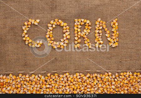 Word  corn  written on burlap  stock photo, Word  corn  written on burlap , background  by alekleks