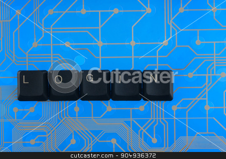 Keyboard keys laid out the word  login  stock photo, Keyboard keys laid out the word  login  on a blue background by alekleks