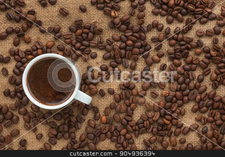 Freshly brewed coffee costs on sacking stock photo, Freshly brewed coffee costs on sacking, can be used as background by alekleks