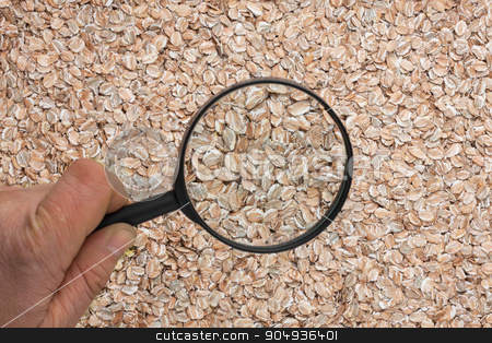 Human hand holding a magnifying glass over the flakes  stock photo, Human hand holding a magnifying glass over the flakes can be used as background by alekleks