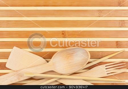 Spoon, fork, chopsticks, paddle stock photo, Spoon, fork, chopsticks, paddle, on a bamboo mat  by alekleks