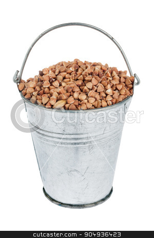 Bucket with buckwheat stock photo, Bucket with buckwheat, isolated on white background by alekleks
