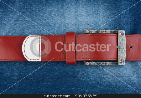 Red strap is on denim stock photo, Red strap is on denim,background by alekleks