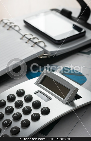 Table businessman with office supplies stock photo, Table businessman with office supplies, as background by alekleks