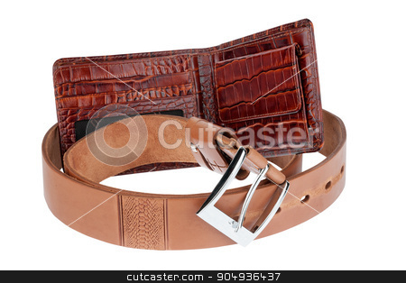 Brown purse with belt stock photo, Brown purse with belt, isolated on white background by alekleks