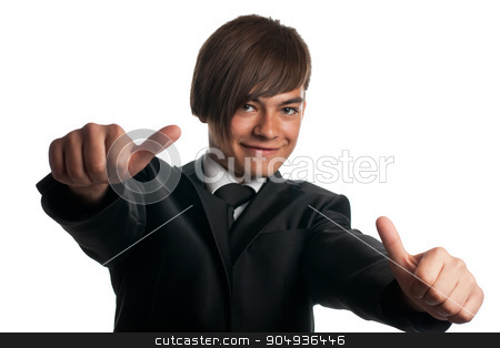 Portrait of a happy young businessman stock photo, business man showing thumbs up sign over white background by alekleks