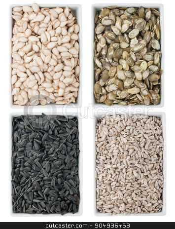 Pumpkin seed, sunflower seed  in a of ceramic plate  stock photo,  Pumpkin seed, sunflower seed  in a of ceramic plate isolated on white background by alekleks