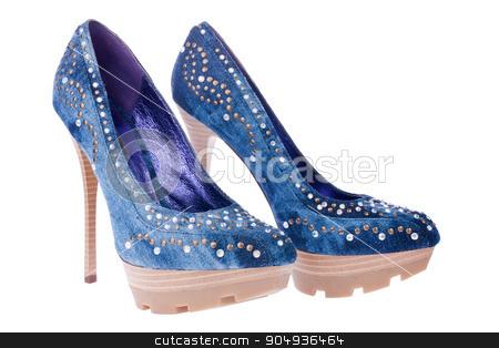 Blue denim shoes stock photo, Blue denim shoes, isolated on white  by alekleks