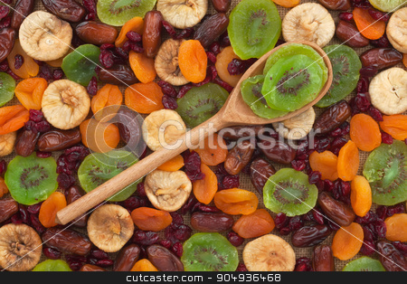Wooden spoon with kiwi stock photo, Wooden spoon with kiwi,  on the background of fruits by alekleks