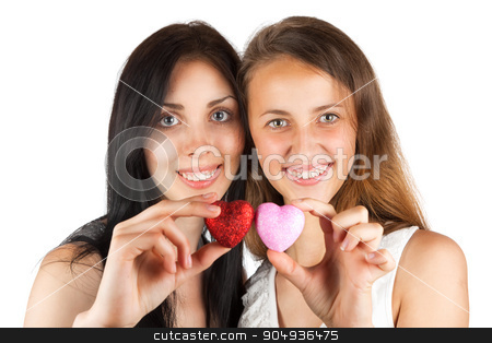 Two girls keep heart stock photo, Two girls keep heart, isolated on white background by alekleks