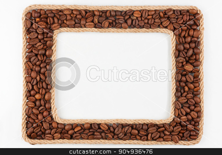 Two frames made of the rope with coffee  beans on a white backgr stock photo, Two frames made of the rope with coffee  beans on a white background, with place for your text by alekleks