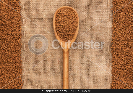 wooden spoon with granulated coffee  stock photo, wooden spoon with granulated coffee , lies on the background burlap by alekleks