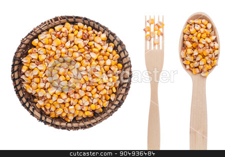 Corn in a plate, fork and spoon stock photo, Corn in a plate, fork and spoon, isolated on white background by alekleks
